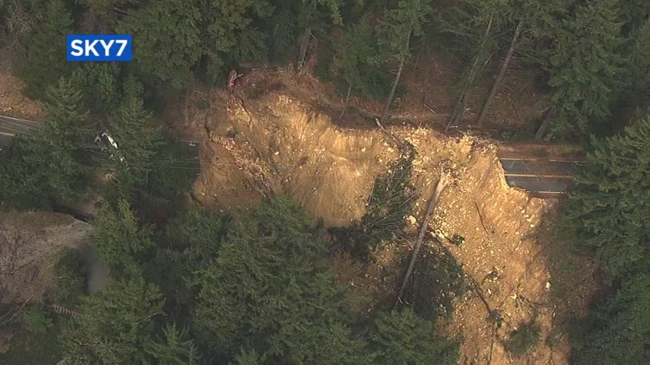 This section of Highway 35 in the Santa Cruz Mountains was washed out during recent Bay Area storms.