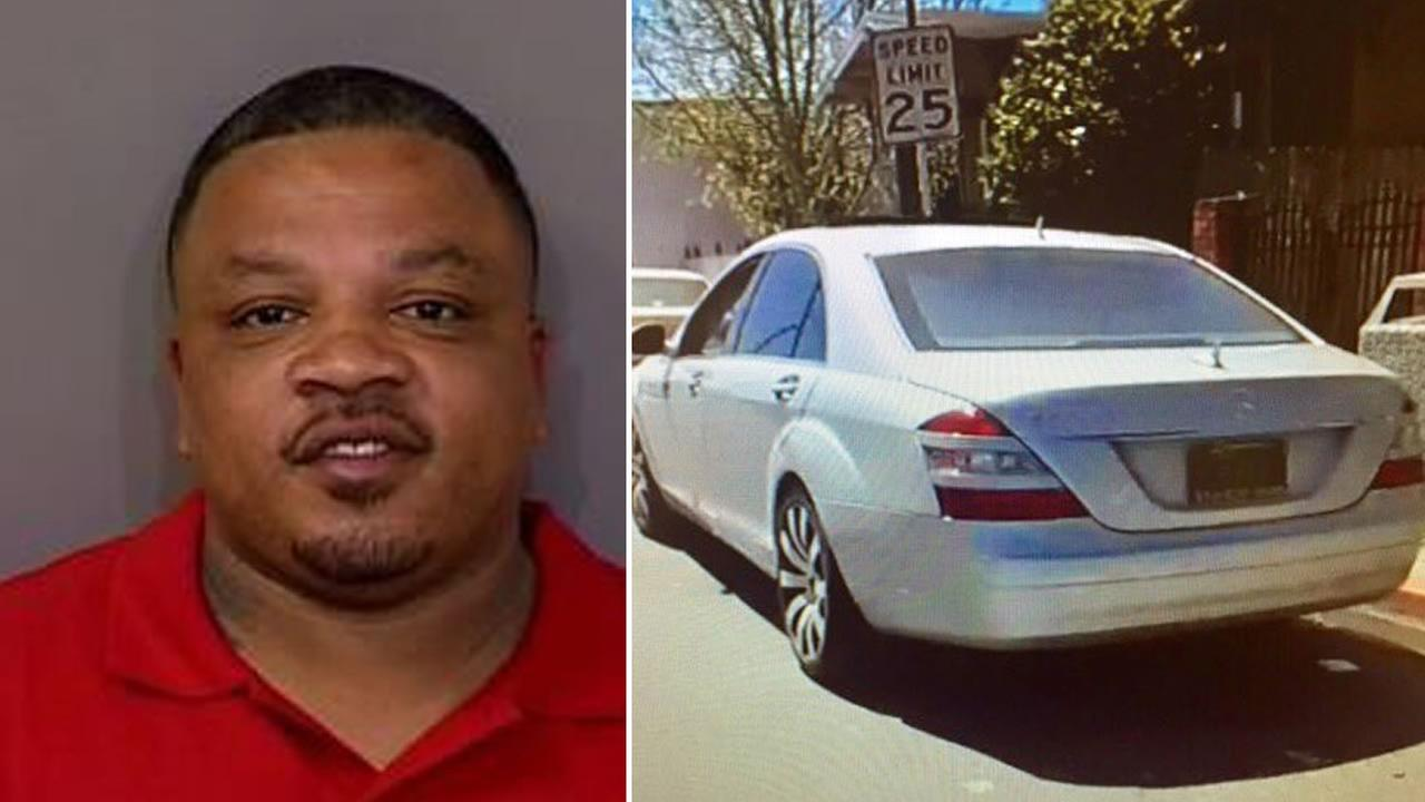This split image shows 43-year-old Lawyer Dushan McBride and his vehicle. McBride is suspected in a fatal shooting in Richmond, Calif. on April 4, 2017.