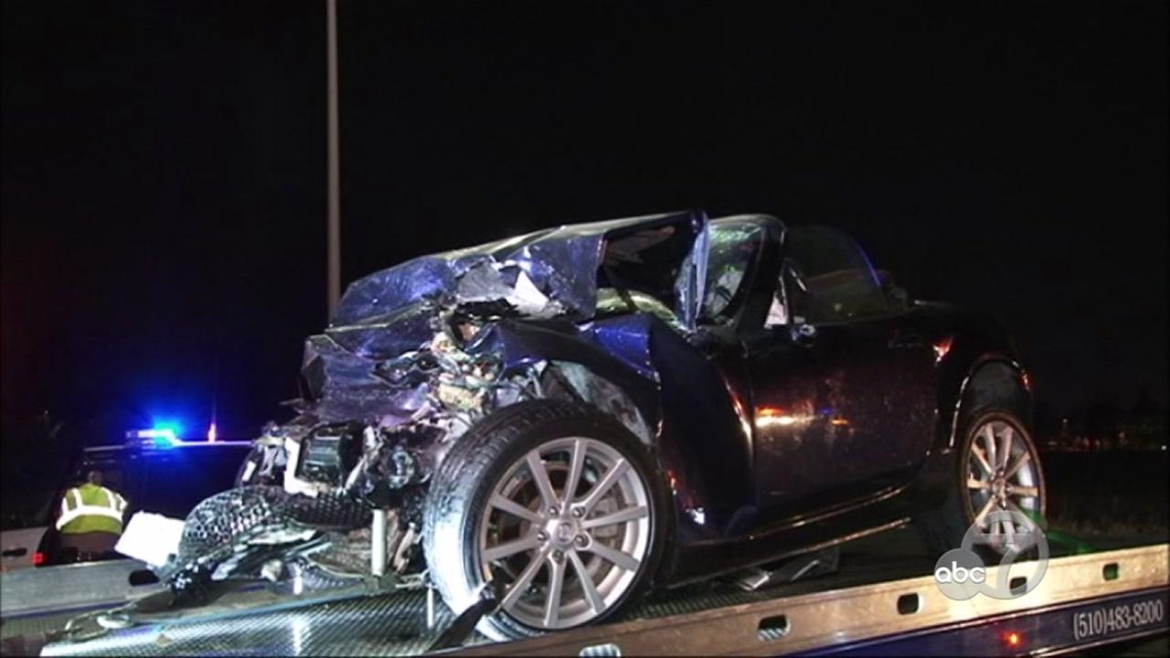 Crash scene on Highway 84 in Fremont, California, April 5, 2017.