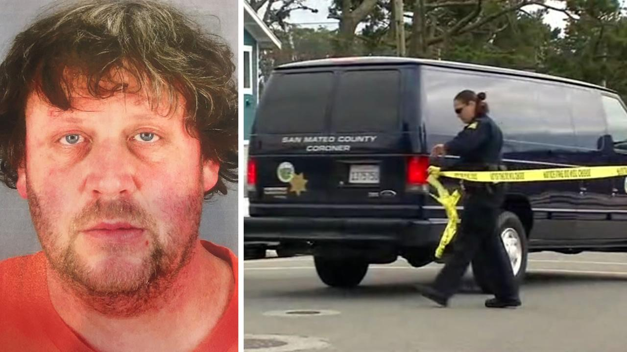 This image shows David Stubblefield and a crime scene in San Bruno, Calif. Stubblefield was arrested in connection with the discovery of a dismembered body on April 6, 2017.