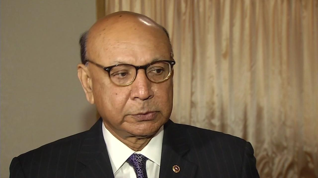 Khizr Khan is seen speaking at a fundraiser in Newark, Calif. on Saturday, April 8, 2017.