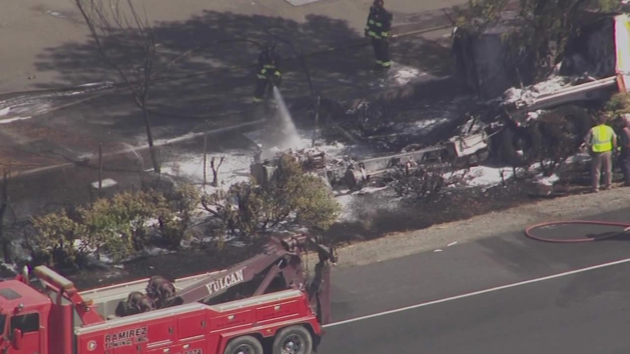 big rig caught on fire on EB I-80 in Fairfield