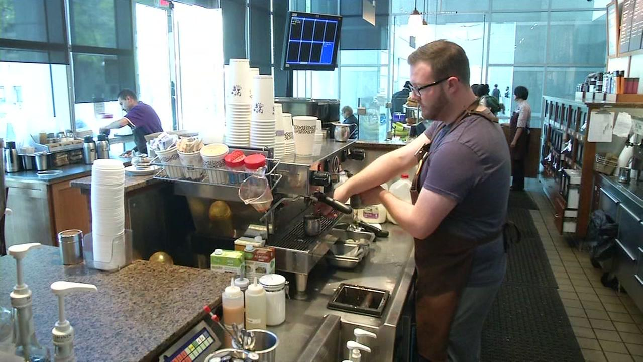 A barista is seen at a Peets Coffee in this undated image.