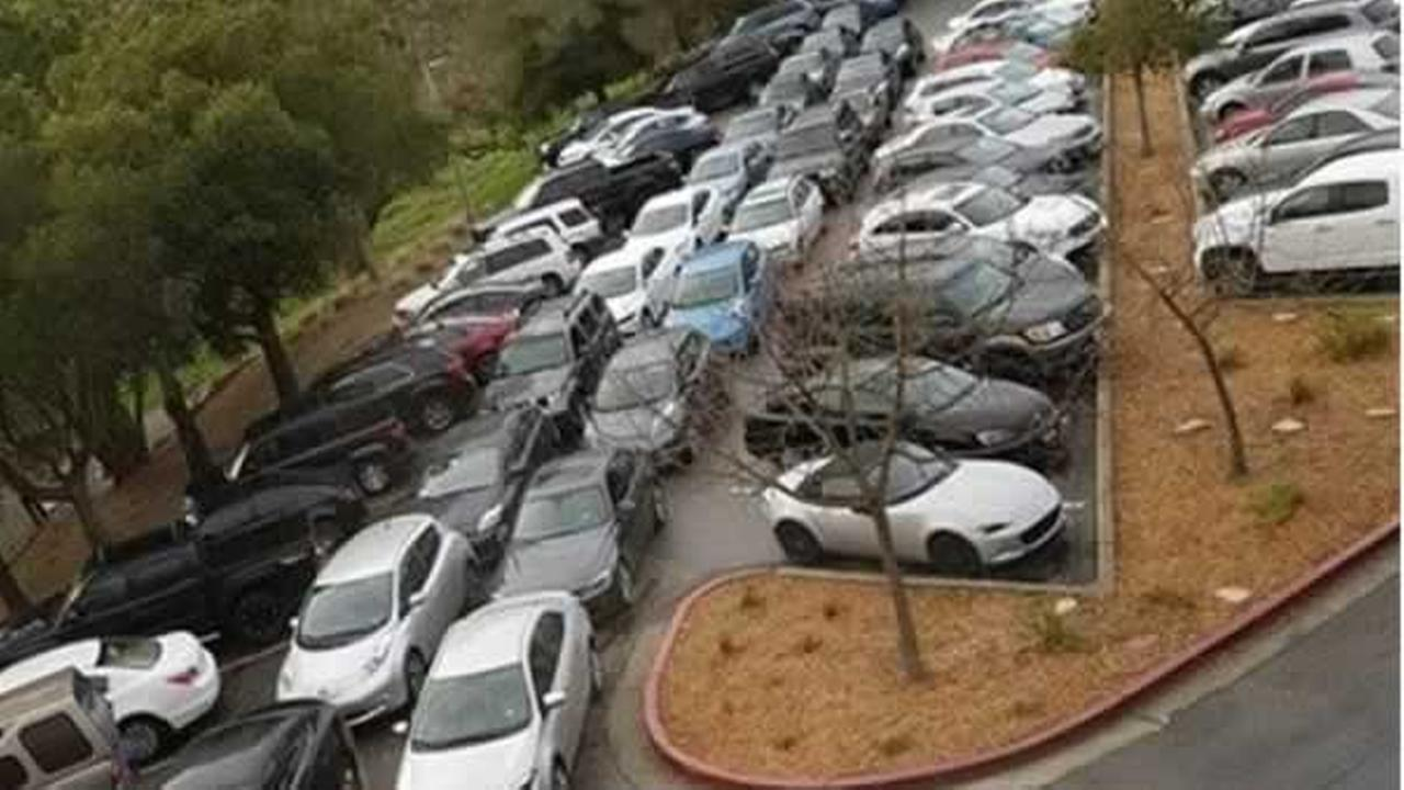 This unfortunate parking situation in the Tesla employee parking lot in Fremont, Calif. was captured and posted to Instagram on Feb. 2, 2017.Photo by TeslaParkingLot/Instagram