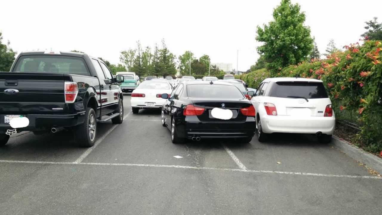 This unfortunate parking situation in the Tesla employee parking lot in Fremont, Calif. was captured and posted to Instagram on Sept. 8, 2016.Photo by TeslaParkingLot/Instagram
