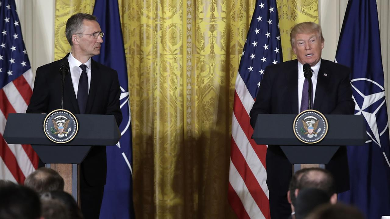 President Trump speaks during a news conference with NATO Secretary General Jens Stoltenberg in the East Room of the White House in Washington on April 12, 2017.(AP Photo)