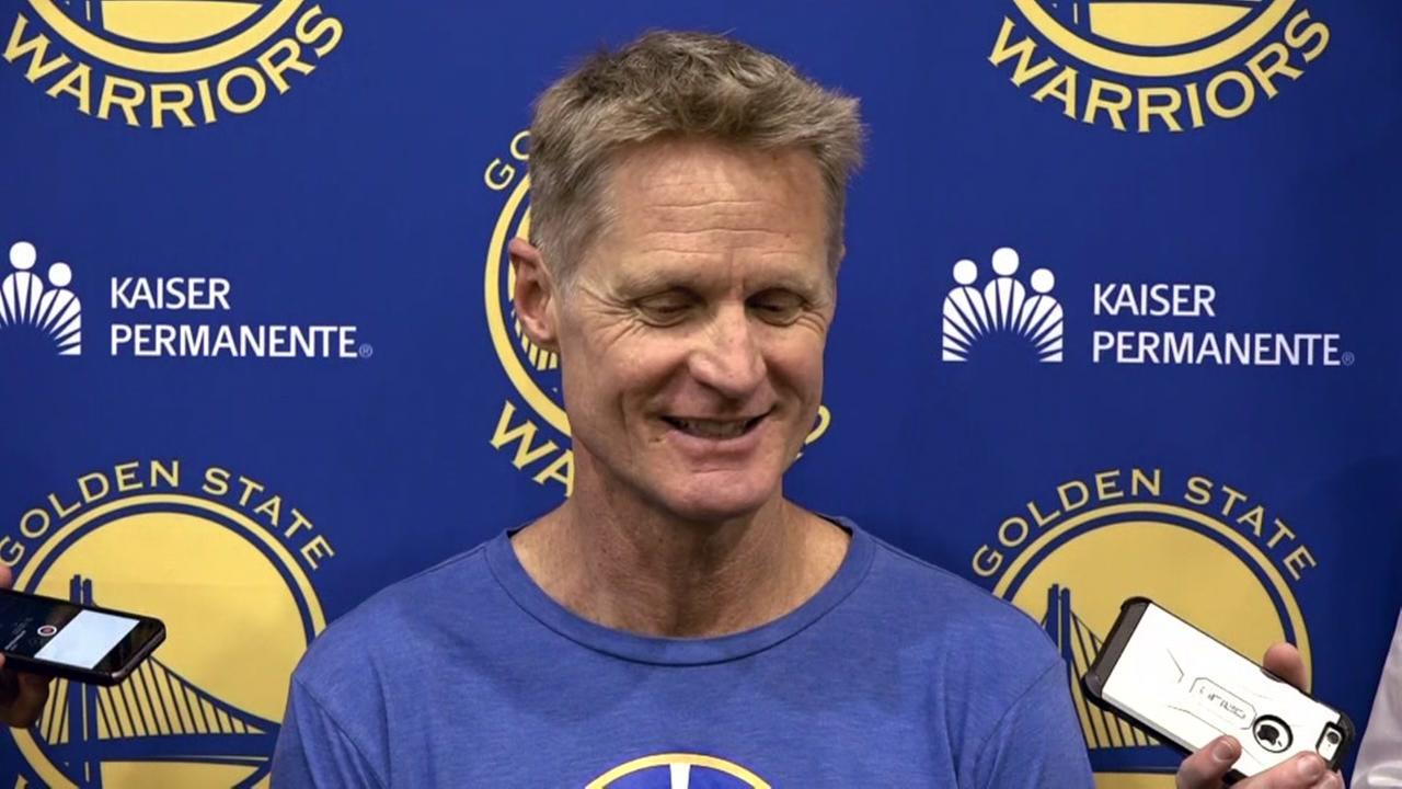 Steve Kerr is interviewed in Oakland, Calif. before the Golden State Warriors final regular season game of 2017.