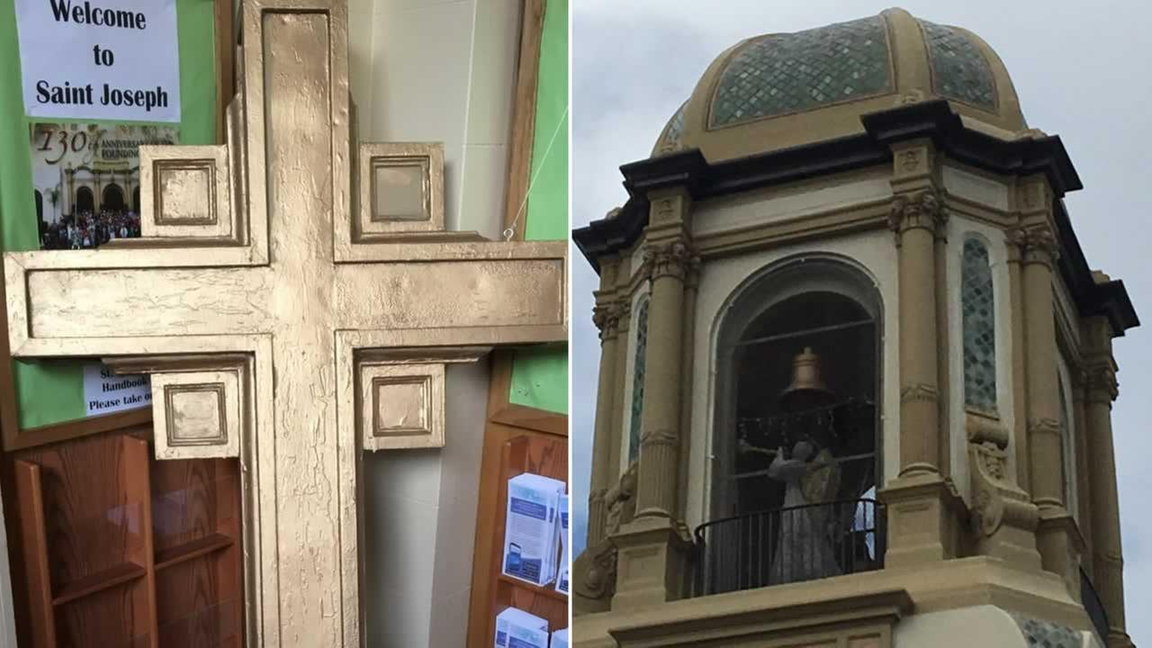 A 90-year-old cross was removed from atop St. Josephs Church in Alameda, Calif.