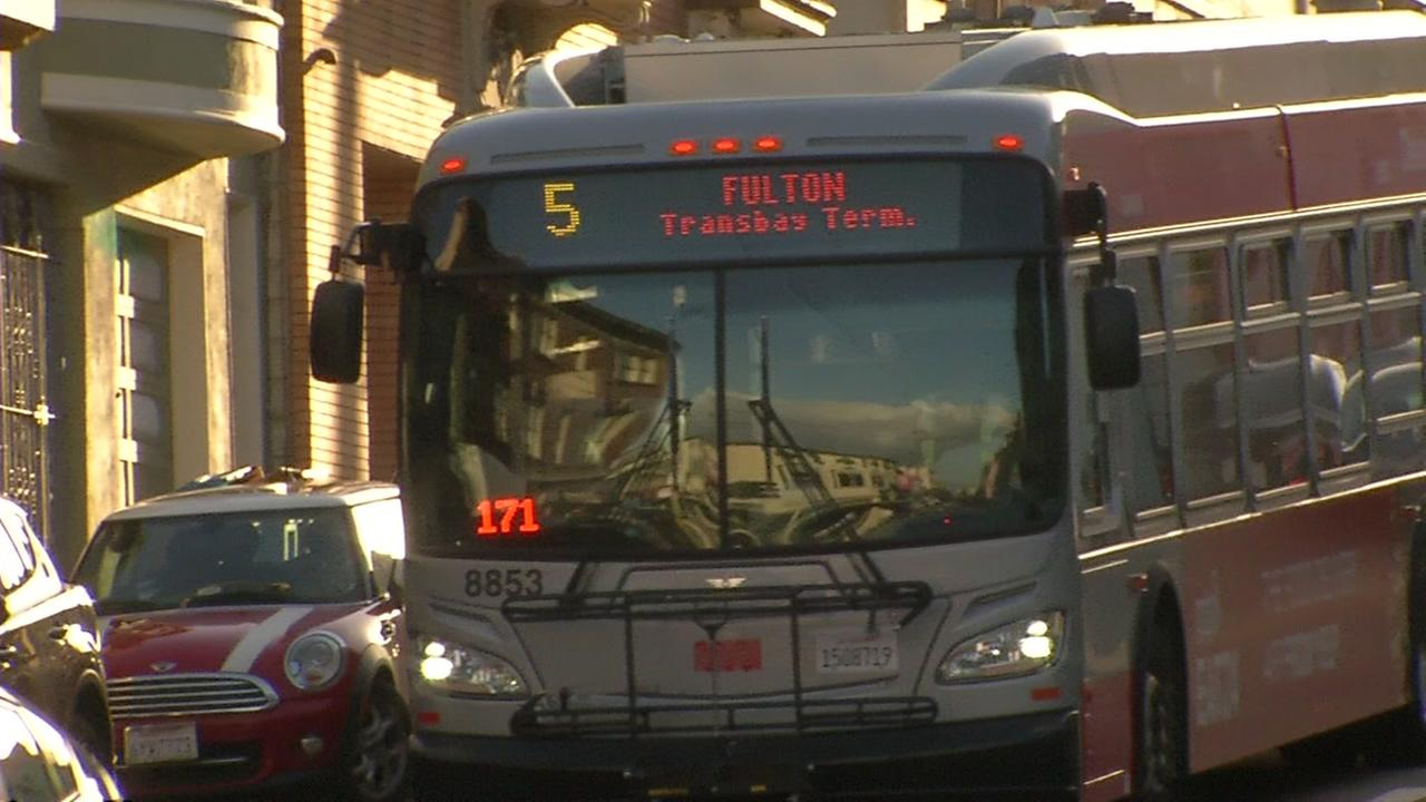 This is an undated image of the 5 Fulton bus in San Francisco.