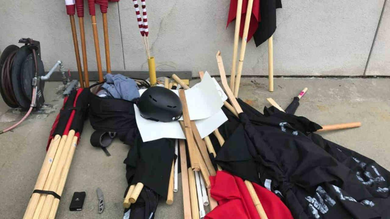 Items confiscated by Berkeley police at a protest over President Trump are seen on Saturday, April 15, 2017.Berkeley Police via Twitter