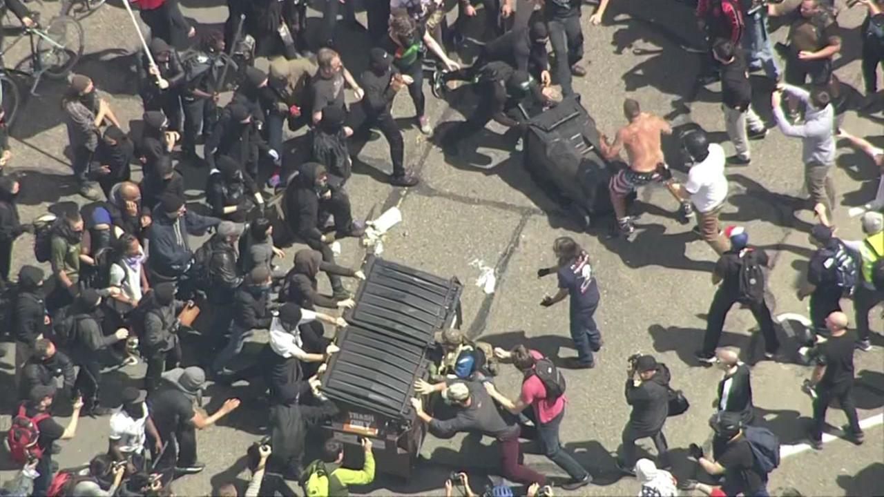 Protesters clash in Berkeley, California over President Donald Trump on Saturday, April 15, 2017.KGO-TV