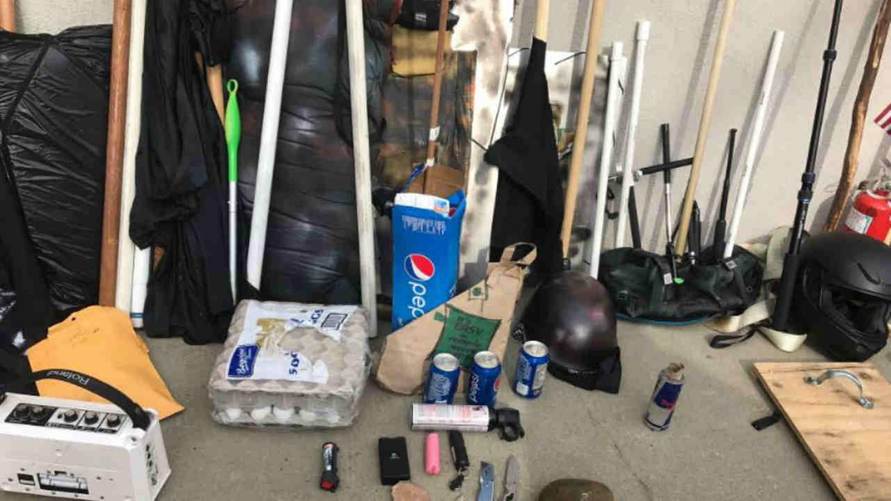 Items confiscated by Berkeley police at a protest over President Trump are seen on Saturday, April 15, 2017.Berkeley Police