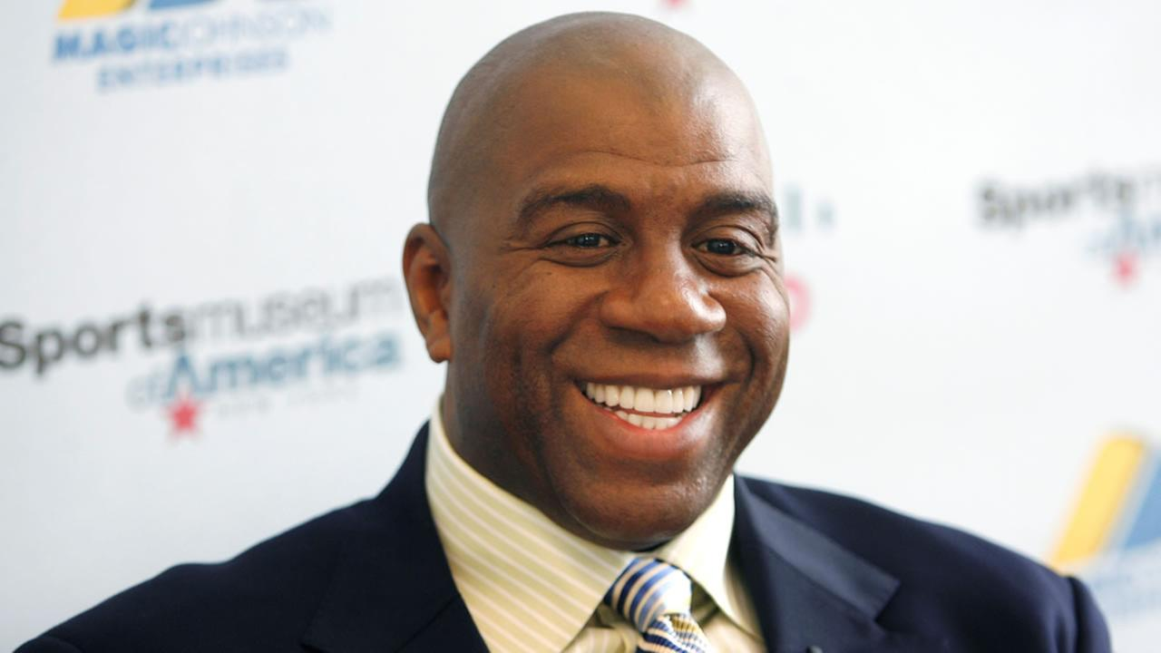 Basketball legend Magic Johnson file picture from 2008 at  the Sports Museum of America in New York.