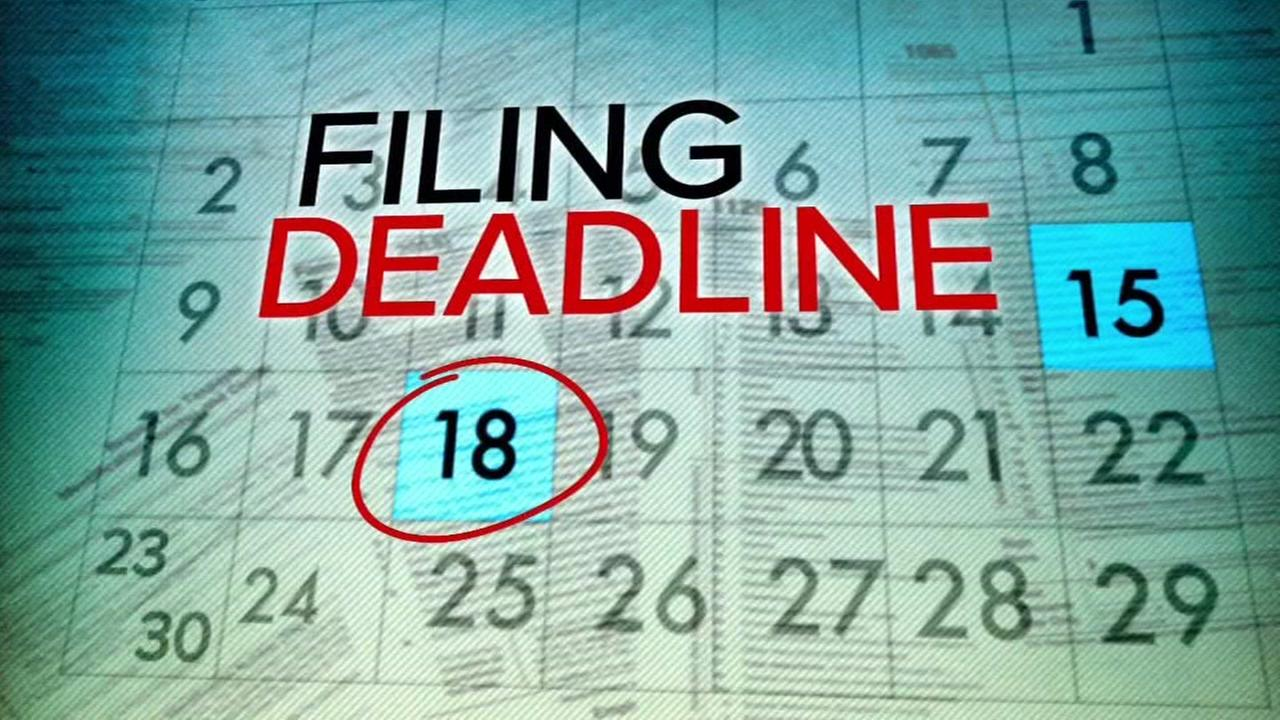 This is an undated graphic showing the deadline for filing taxes on Tuesday, April 18, 2017.