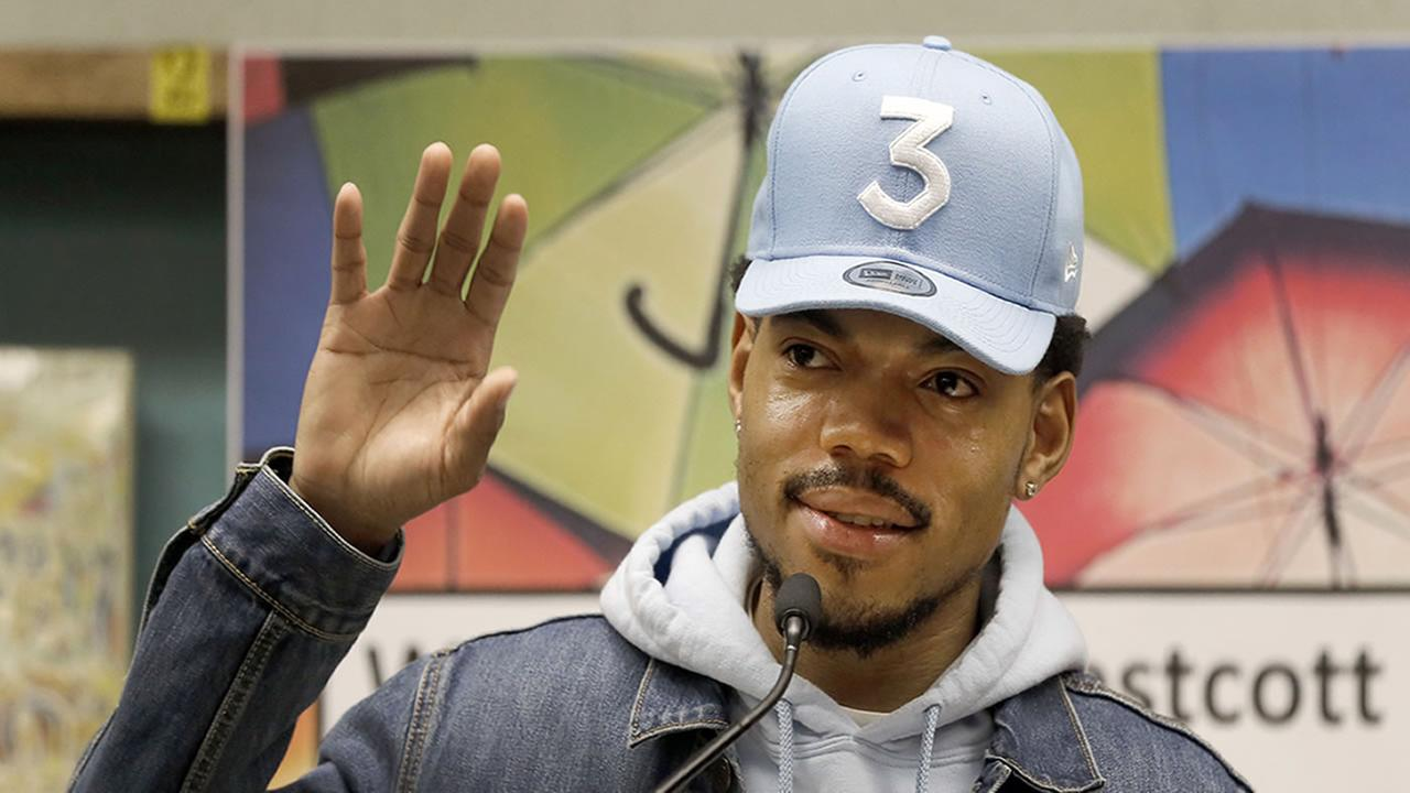 Chance The Rapper announces a gift of $1 million to the Chicago Public School Foundation at the Westcott Elementary School, Monday, March 6, 2017, in Chicago.