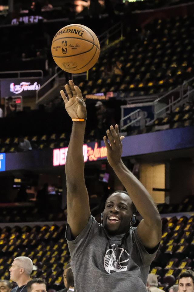 <div class='meta'><div class='origin-logo' data-origin='none'></div><span class='caption-text' data-credit='Wayne Freedman'>Draymond Green warms up before game 3 of the NBA Finals in Cleveland, Ohio on June 8, 2017.</span></div>