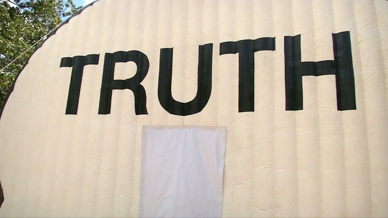 The Truth Booth art installation appears in Palo Alto, Calif. on Wednesday, April 19, 2017.