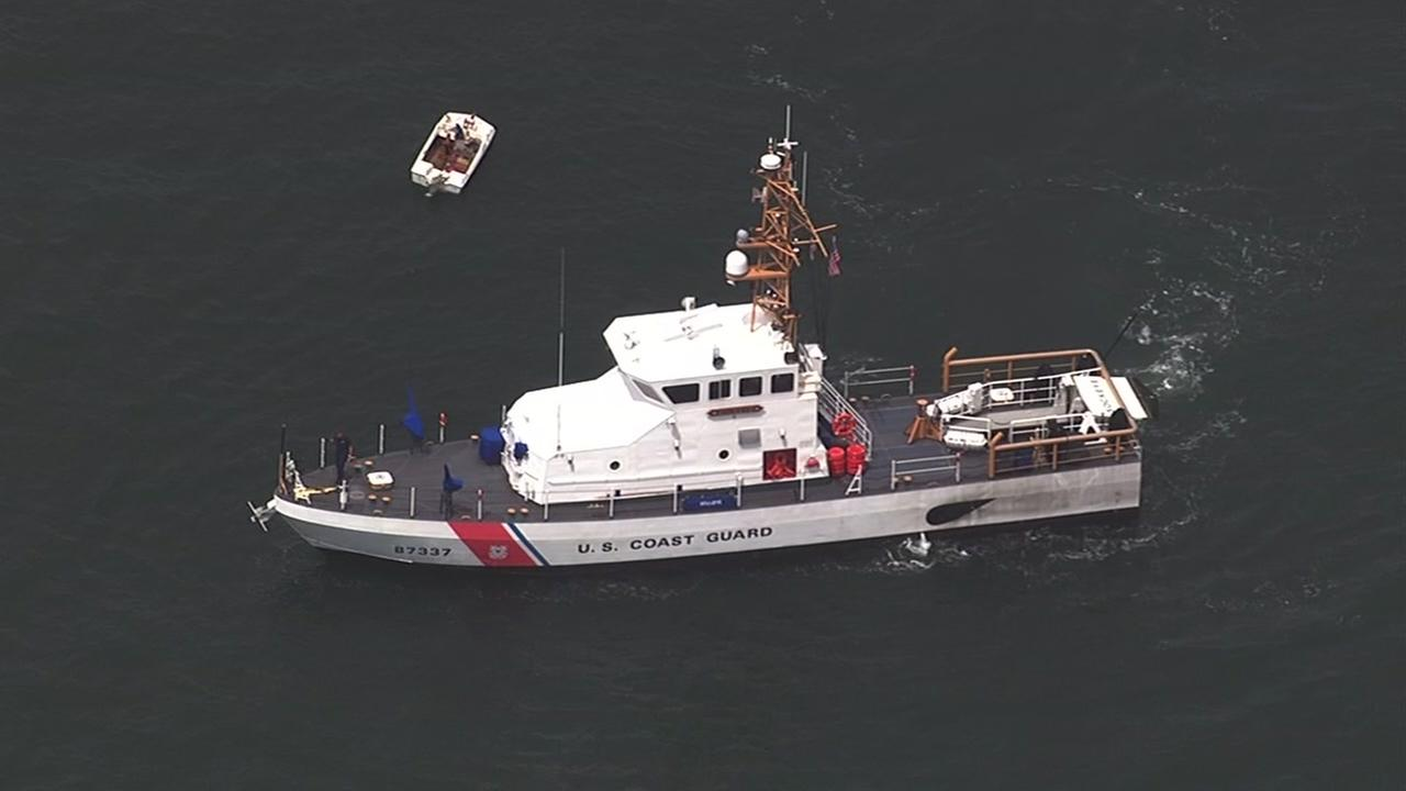 The U.S. Coast Guard searches for an Oakland man whose boat capsized off Muir Beach on Wednesday, April 19, 2017.