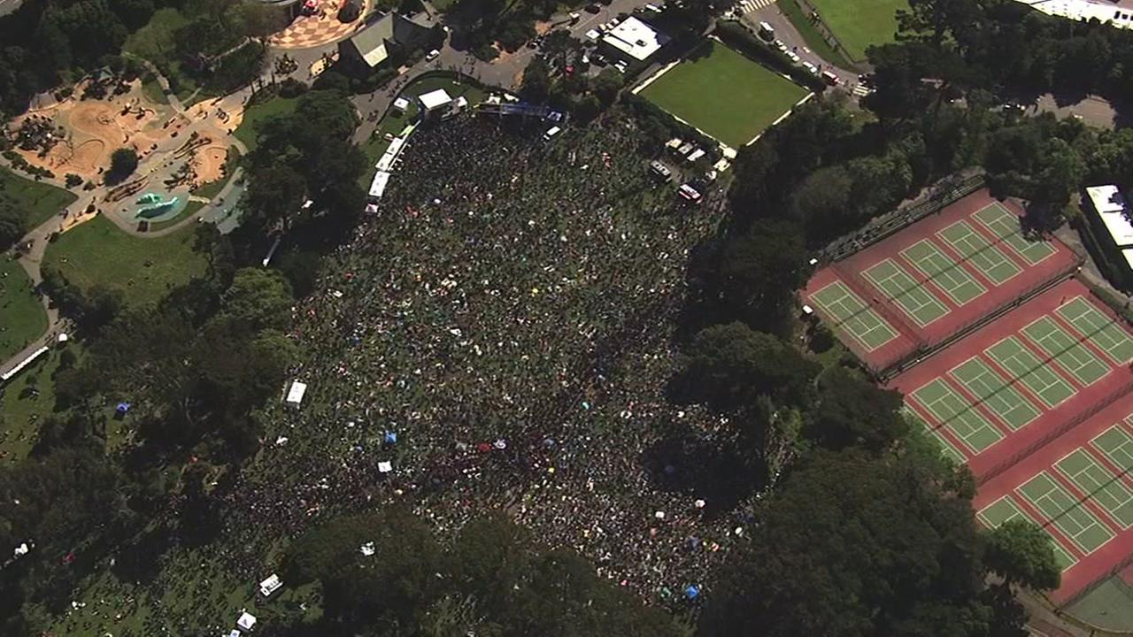 Sky7 was over the 4/20 celebration at San Franciscos Hippie HIll on Thursday, April 20, 2017.