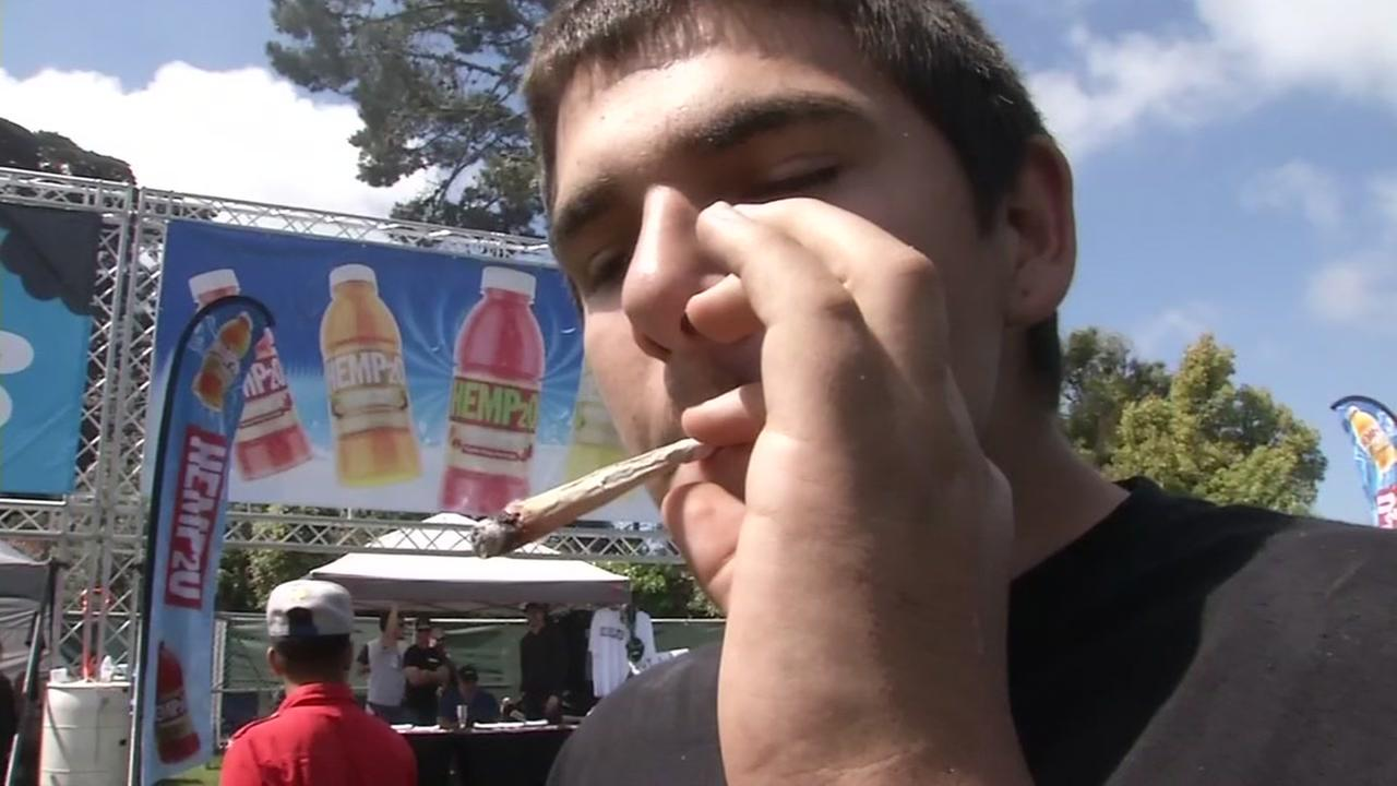 An estimated 15,000 people gathered in San Francisco's Golden Gate Park to celebrate 4/20 on Thursday, April 20, 2017.KGO-TV