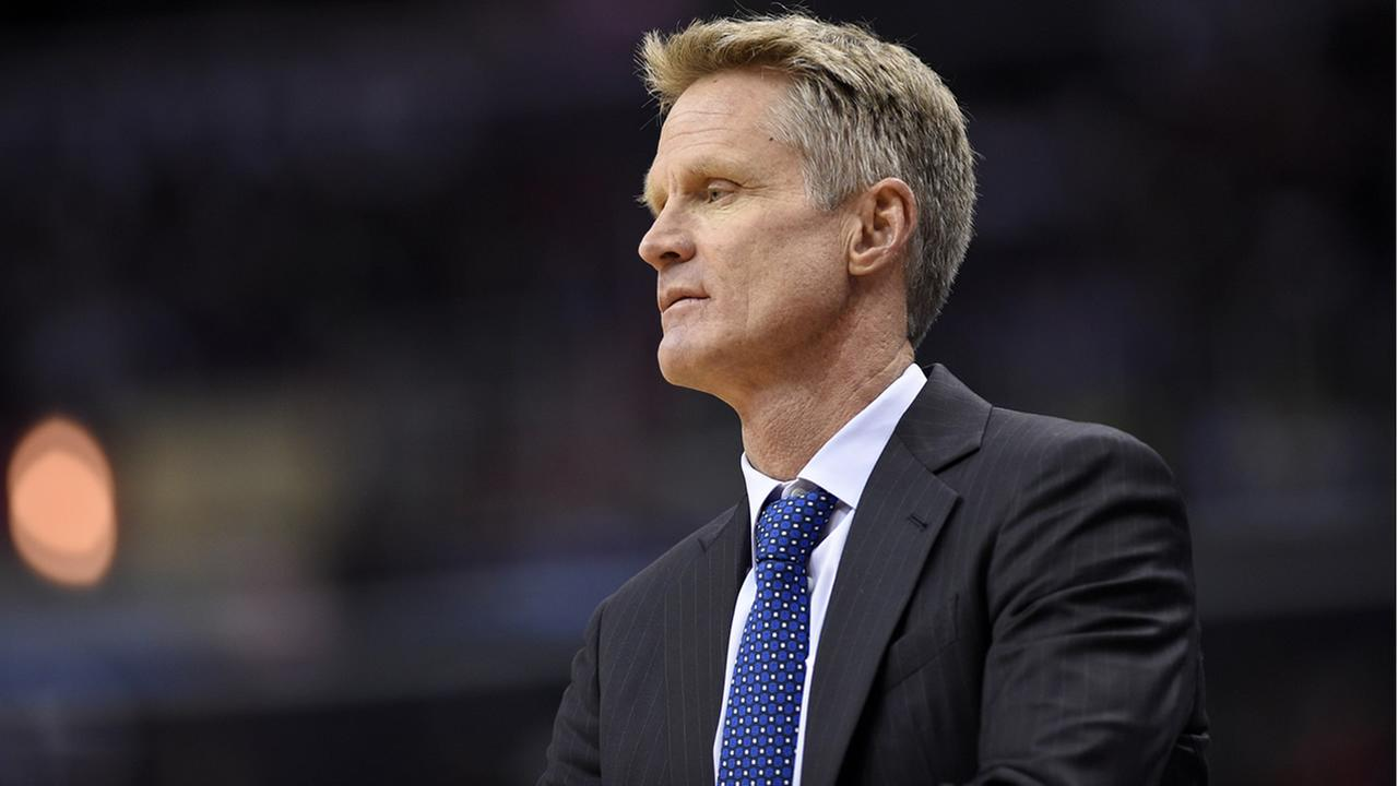 Warriors head coach Steve Kerr looks on during an NBA basketball game against the Wizards, on Feb. 28, 2017, in Washington. (AP Photo/Nick Wass)