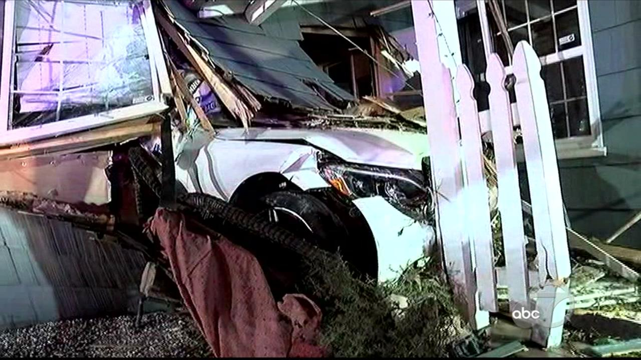 Out-of-control car slams into home in Walnut Creek, California, Sunday, April 23, 2017.
