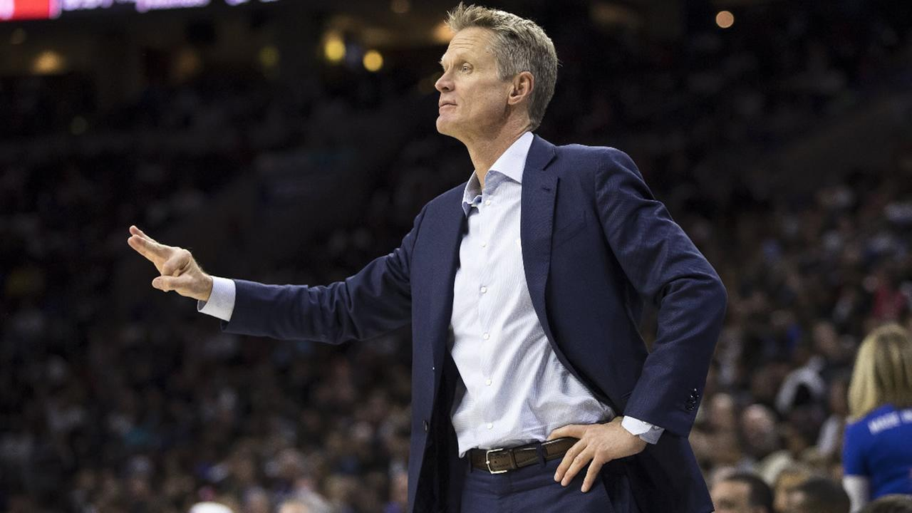 Warriors coach Steve Kerr reacts during a game against the Philadelphia 76ers, Monday, Feb. 27, 2017, in Philadelphia. (AP Photo/Chris Szagola)
