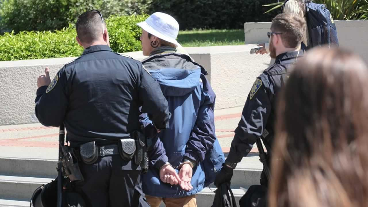 Police make an arrest during a protest following the cancelation of Ann Coulters speech at UC Berkeley on Thursday, April 27, 2017.KGO-TV/Wayne Freedman
