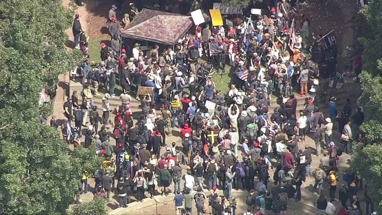 Demonstrators gather during a protest following the cancelation of Ann Coulter's speech at UC Berkeley on Thursday, April 27, 2017.KGO-TV