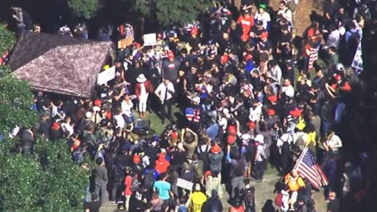 Demonstrators gather during a protest following the cancelation of Ann Coulters speech at UC Berkeley on Thursday, April 27, 2017.KGO-TV
