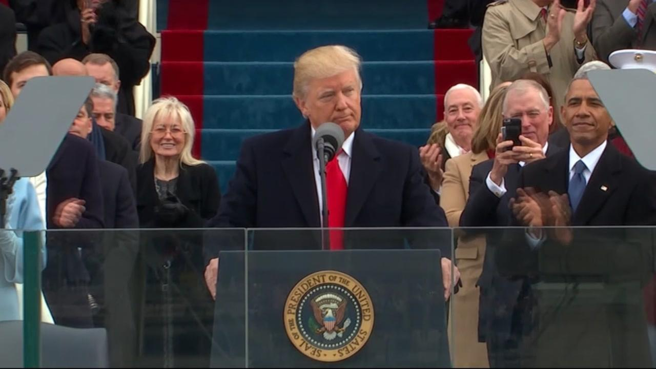 President Donald Trump appears during his inauguration on Jan. 20, 2017.