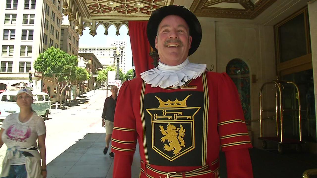 Doorman for the iconic Sir Francis Drake Hotel in San Francisco Tom Sweeney appears on Monday, May 1, 2017.