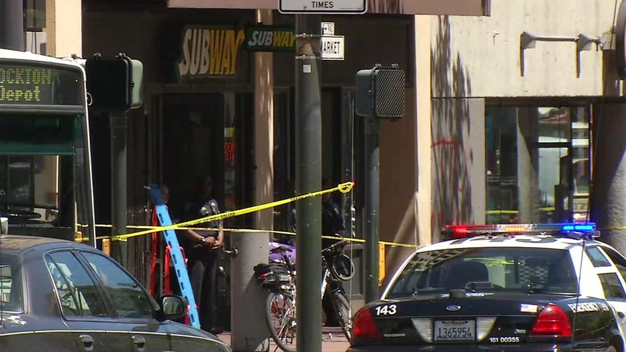 San Francisco police are seen at the scene of an officer-involved shooting on Wednesday, May 3, 2017.