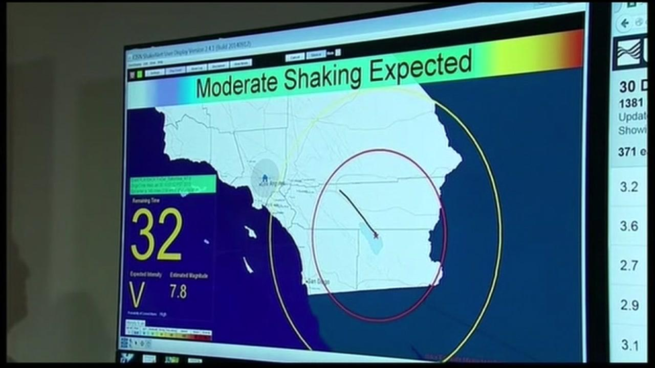 An early earthquake warning is shown on a computer in this undated image.