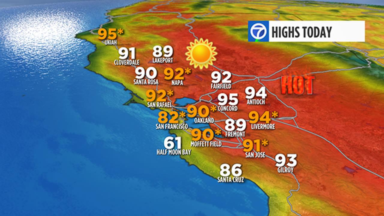 This graphic shows record high temperatures in the Bay Area.