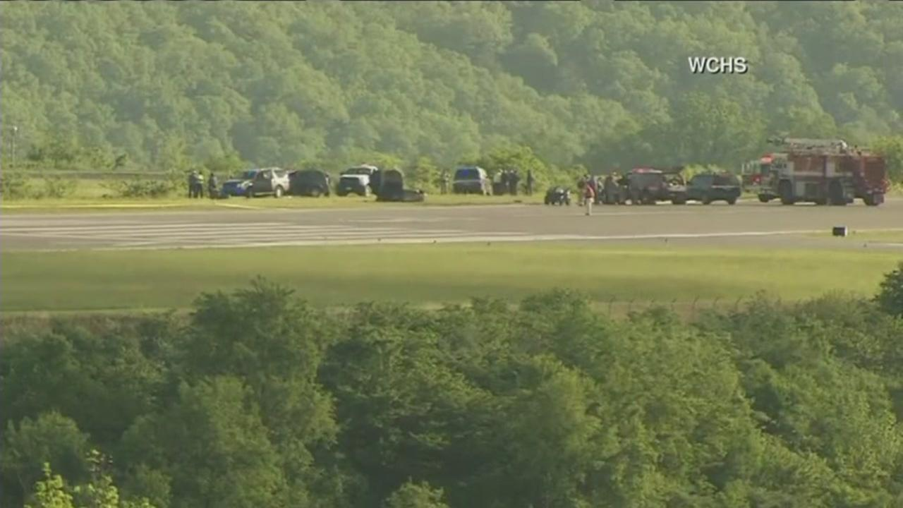 Plane contracted by UPS slides off runway in West Virginia, Friday, May 5, 2017.