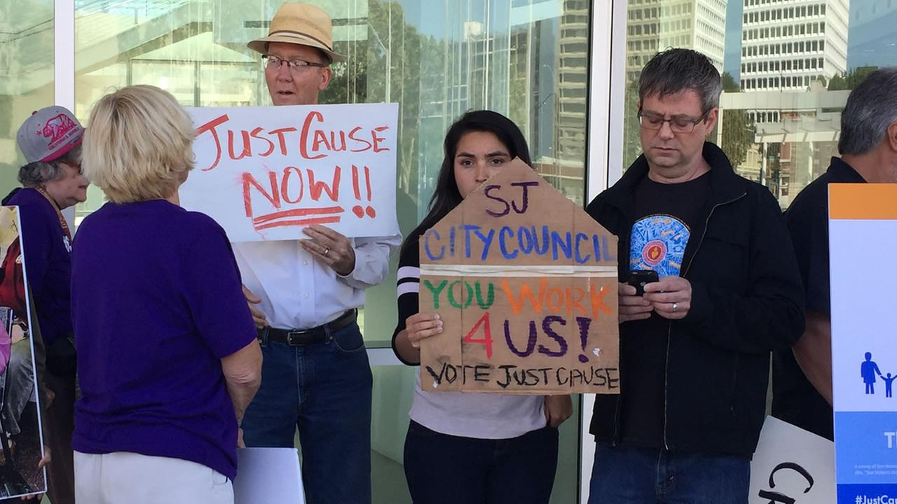 Tenants and advocates held a last-minute protest in San Jose, Calif. on Monday, May 8, 2017 ahead of a city council vote to restrict no-cause evictions.