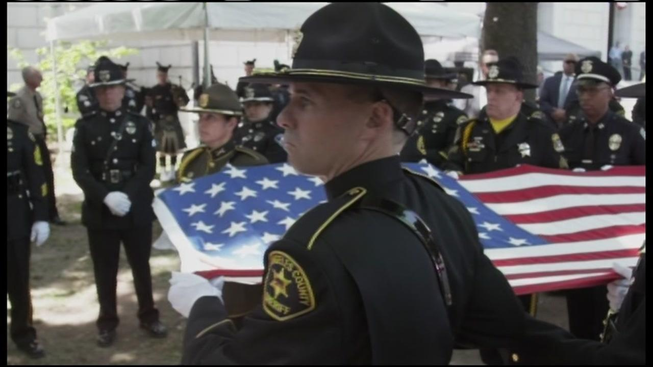 A ceremony was held to honor the 15 officers killed in the line of duty this past year in California on Monday, May 8, 2017 in Sacramento, Calif.