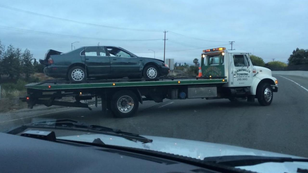 Car towed after fatal crash in Sunnyvale.