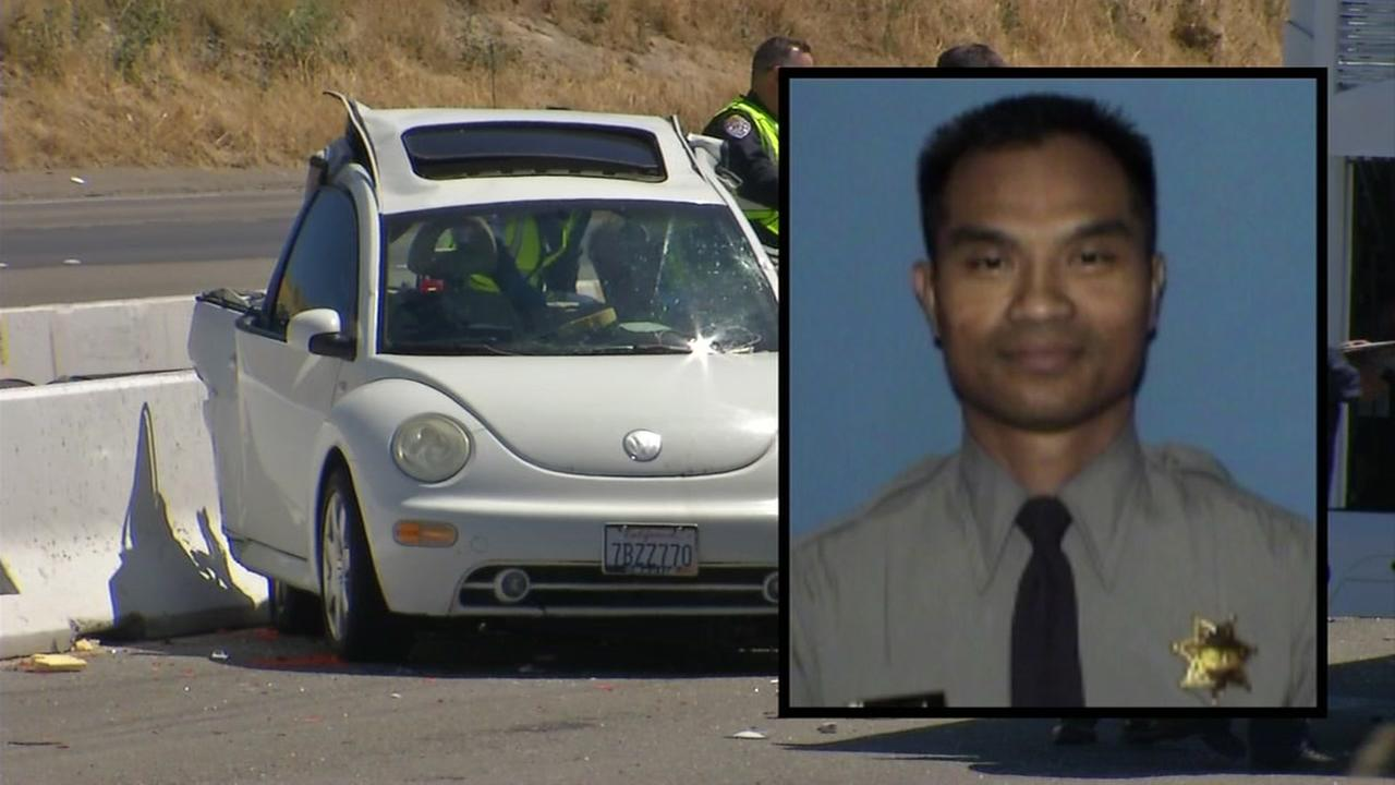 Alameda County Sheriffs Deputy Sroeuy Khin was killed in an accident involving a touring bus on I-580 in Tracy, Calif. on Friday, May 12, 2017.