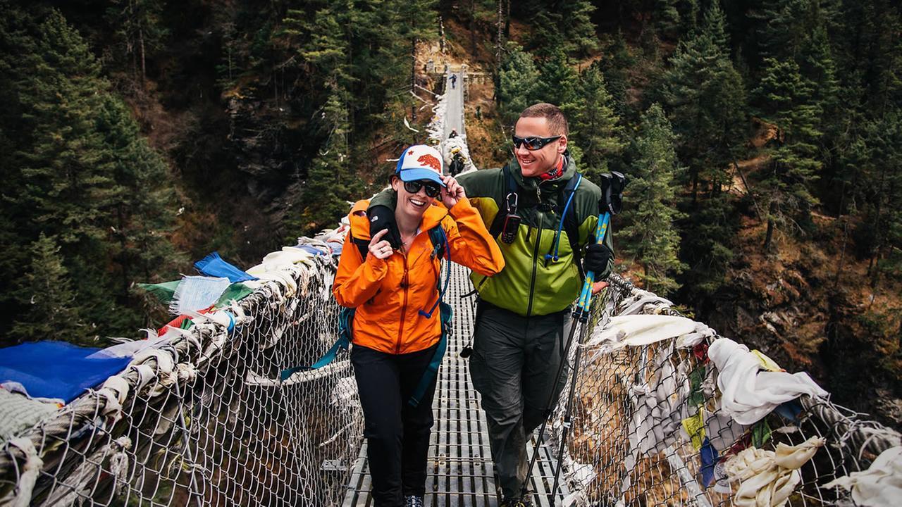 Ashley Schmieder, 32, appears near the Mt. Everest.Charleton Churchill / Adventure Wedding Photographer