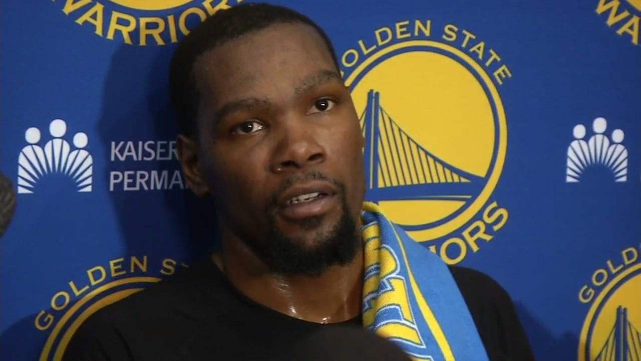 Kevin Durant is interviewed by ABC7 News.