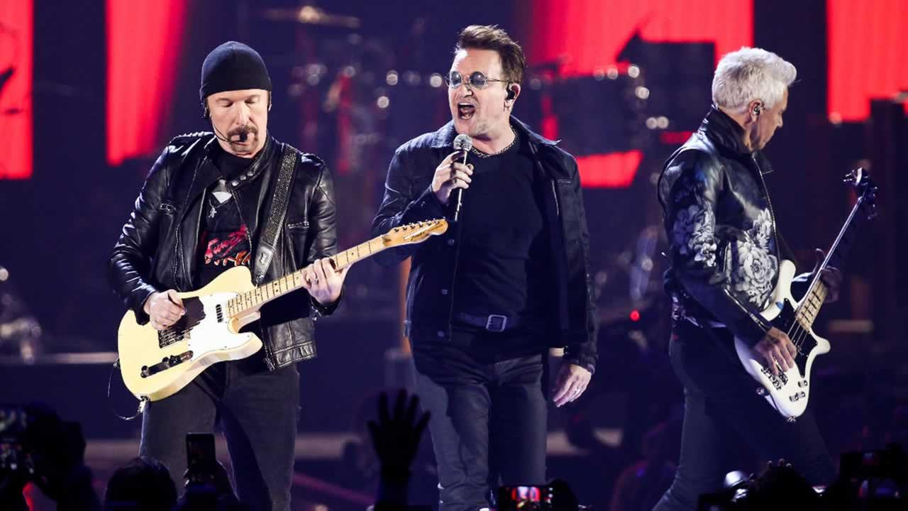 The Edge, from left, Bono and Adam Clayton of the music group U2 performs at the 2016 iHeartRadio Music Festival Friday, Sept. 23, 2016, in Las Vegas.