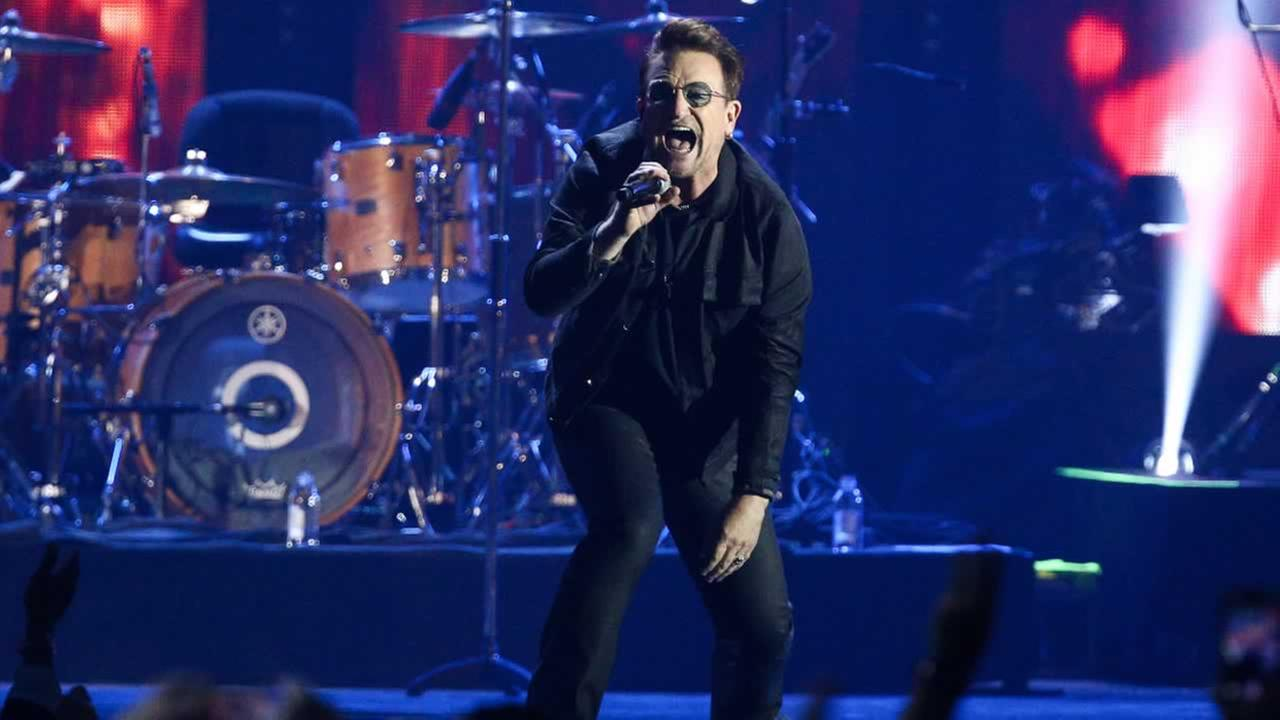Bono of the music group U2 performs at the 2016 iHeartRadio Music Festival - Day 1 held at T-Mobile Arena on Friday, Sept. 23, 2016, in Las Vegas.
