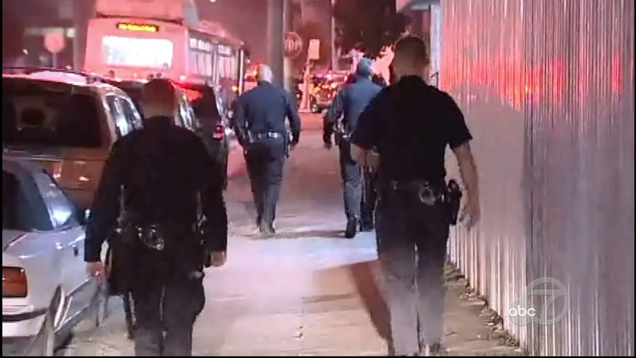 San Francisco police investigate officer-involved shooting in Bayview District, Monday, May 22, 2017.