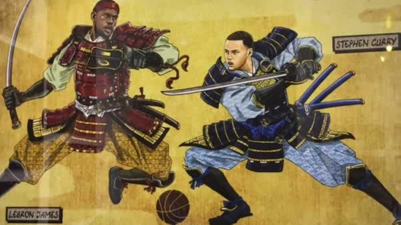 This Warriors-themed art piece is on display at Sole Space in Oakland, Calif. on Monday, May 22, 2017.KGO-TV