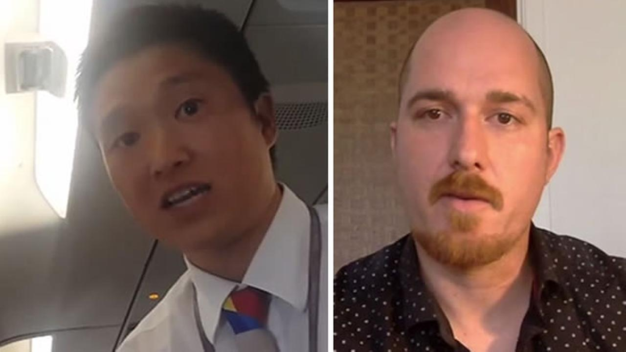 An Asiana Airline employee is pictured in cellphone video, left, and passenger Tim Seward discusses the incident on Skype, right.