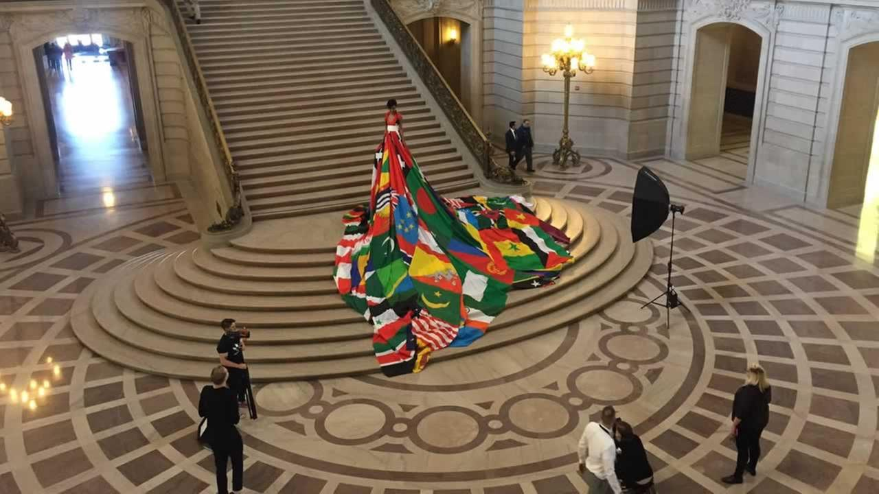 A model wears the Amsterdam Rainbow Dress at San Francisco's City Hall on Monday, May 22, 2017.KGO-TV