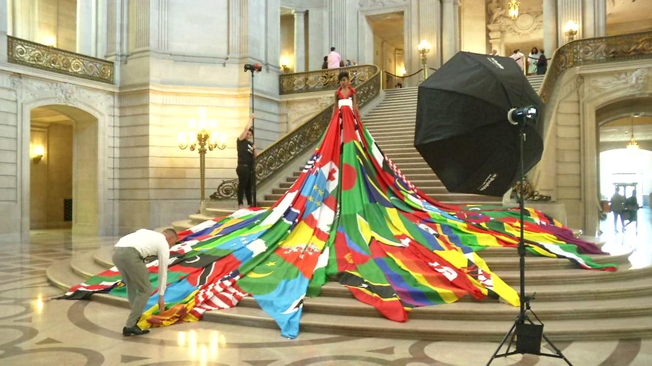 A model wears the Amsterdam Rainbow Dress at San Francisco's City Hall on Monday, May 22, 2017.