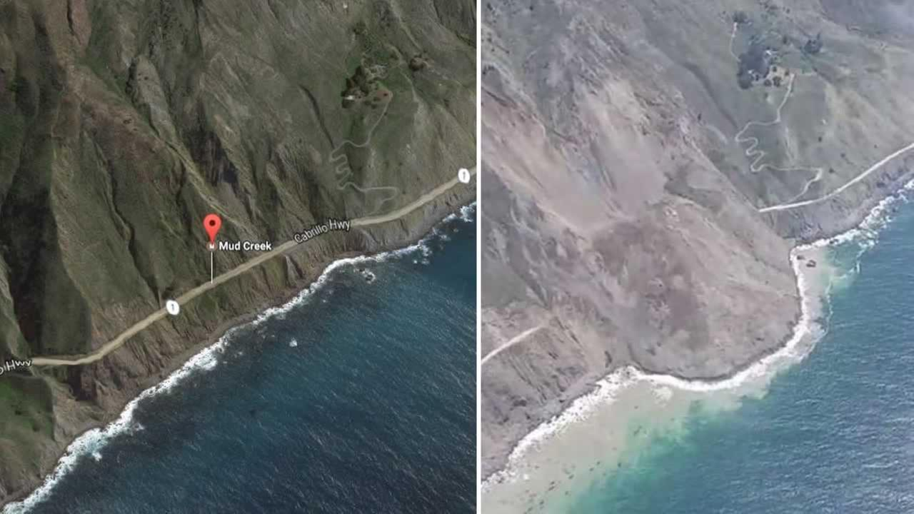 This is the coastline at Mud Creek before the past weekends slide, left, and heres how it looks after the slide, right.